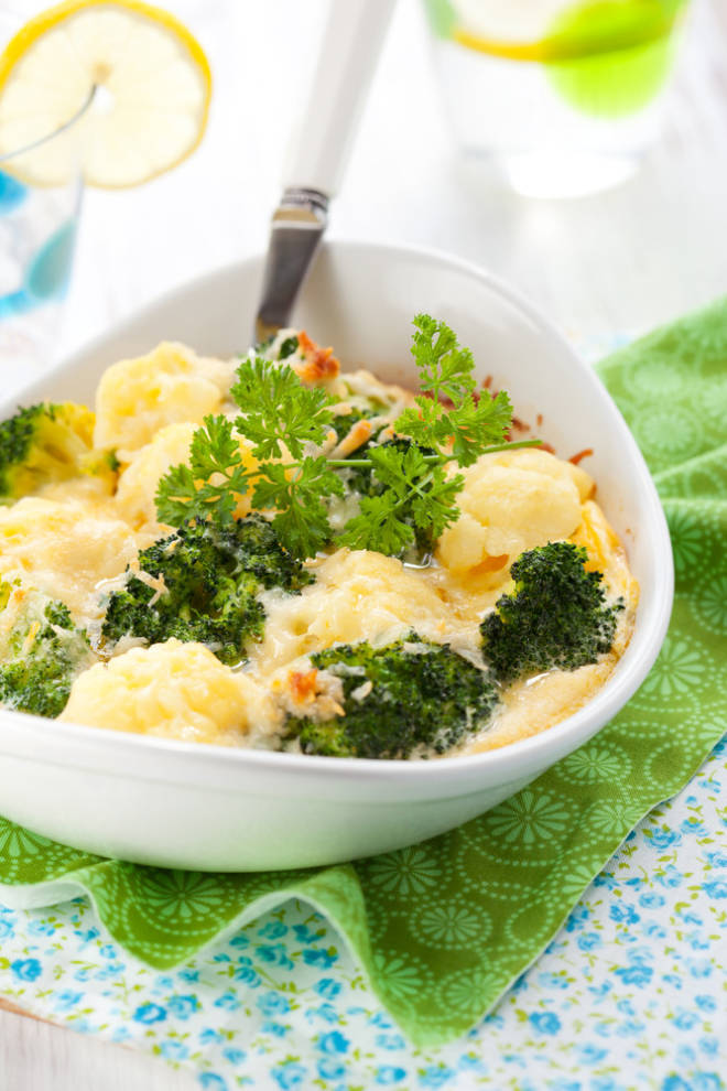 Parmesan Broccoli and Cauliflower Bake